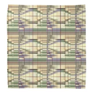 Pastel Green Cream Gray Geometrical Retro Pattern Bandana
