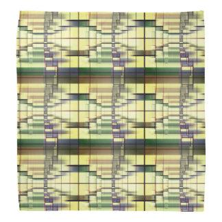 Pastel Green Cream Gray Geometrical Vintag Pattern Bandana