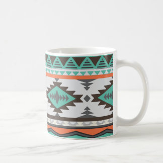pastel green cyan, light red orange Aztec pattern Coffee Mug