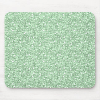 Pastel Green Faux Disco Glitter & Sparkles Mouse Pad