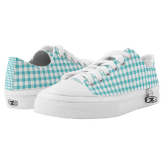 Pastel Green Gingham Check Pattern Low-Top Sneakers