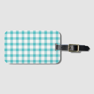 Pastel Green Gingham Check Pattern Luggage Tag