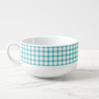 Pastel Green Gingham Check Pattern Soup Mug