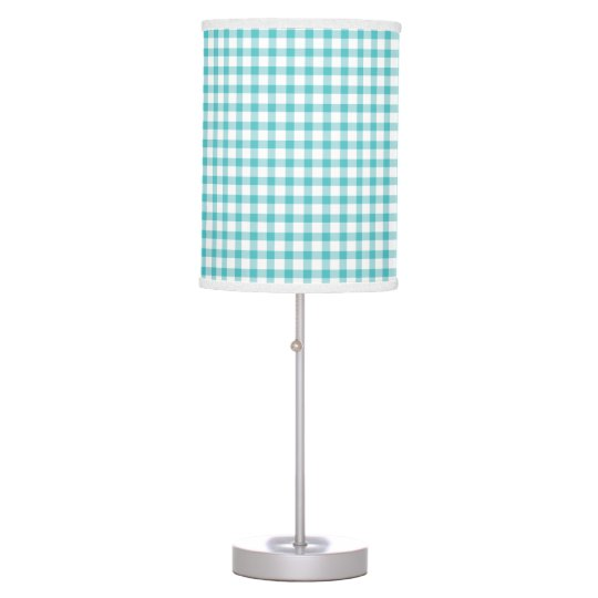 Pastel Green Gingham Check Pattern Table Lamp