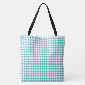 Pastel Green Gingham Check Pattern Tote Bag