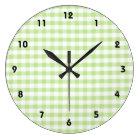 Pastel Green Gingham pattern Large Clock