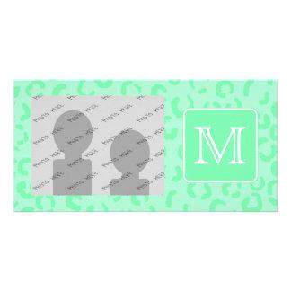 Pastel Green Leopard Print Custom Monogram. Photo Greeting Card