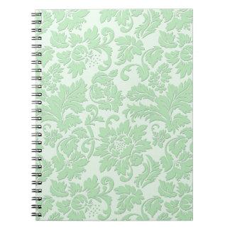 Pastel Green Monochromatic Vintage Floral Damask Note Books