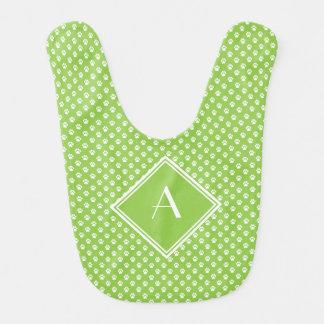 Pastel Green Paw Print-Pattern Bib with Monogram