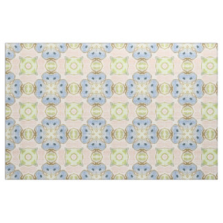 Pastel Green Pink Blue Cute Nouveau Mosaic Pattern Fabric