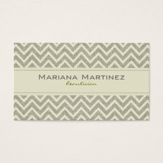 Pastel Green Retro Chevron Pattern Linen Texture Business Card