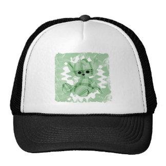 Pastel Green Spiral Smoke Teddy Bear Trucker Hat