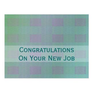 pastel green teal congratulations job postcard