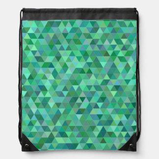 Pastel green triangles drawstring bag