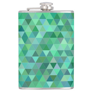 Pastel green triangles hip flask
