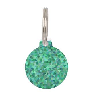 Pastel green triangles pet ID tag
