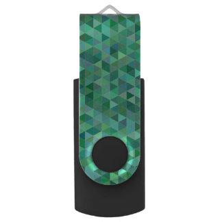 Pastel green triangles USB flash drive