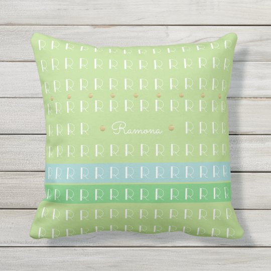 pastel green with custom name and initial nice outdoor pillow