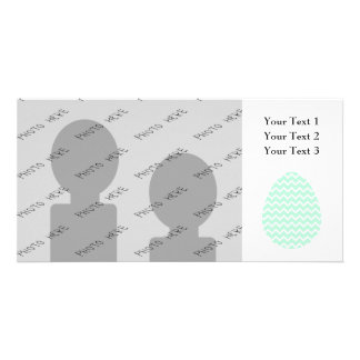 Pastel Green Zigzag Easter Egg. Personalized Photo Card