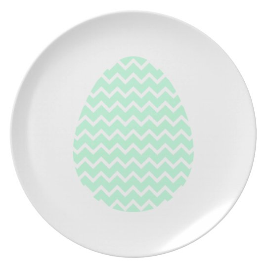 Pastel Green Zigzag Easter Egg. Plate