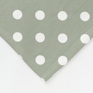 Pastel Grey And White Polka Dot Pattern Fleece Blanket