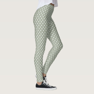 Pastel Grey And White Polka Dot Pattern Leggings