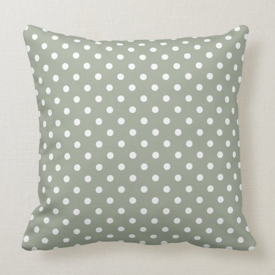 Pastel Grey And White Polka Dot Pattern Throw Pillow