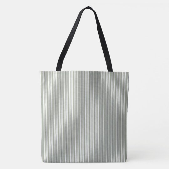 Pastel Grey And White Striped Pattern Tote Bag
