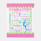Pastel Gymnastics Words Typography Fleece Blanket