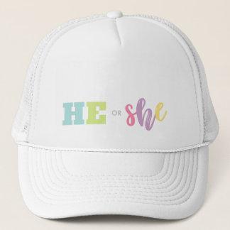 Pastel He or She Gender Reveal Baby Shower Trucker Hat