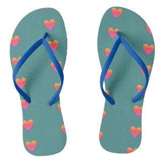 Pastel Heart Flip Flops