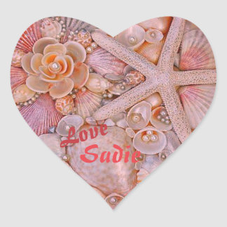 Pastel Heart Shaped Sticker with Sea Shells