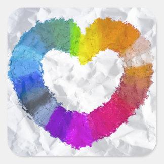 Pastel Heart Square Sticker