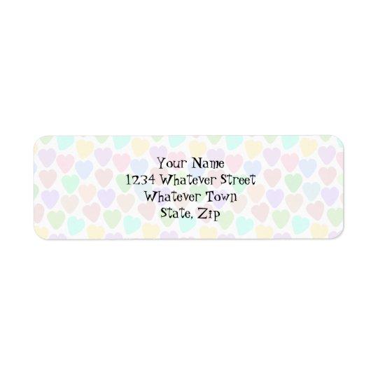 Pastel Hearts Design Just Add Address Return Address Label