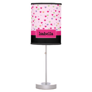 Pastel Hearts on Pink Personalized Table Lamp