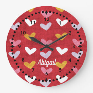 Pastel Hearts on Red Wall Clock