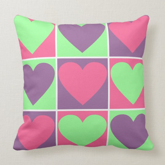 Pastel Hearts Throw Pillow