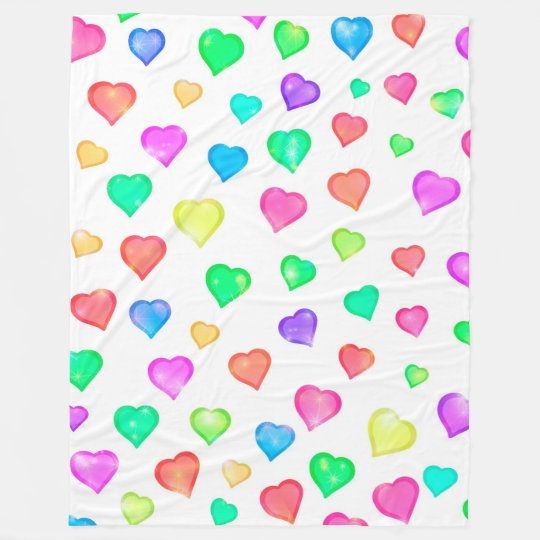 Pastel Hearts Watercolor Print Fleece