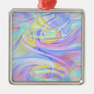 pastel hologram Silver-Colored square ornament