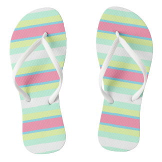 Pastel horizontal beach stripes flip flops