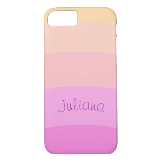 Pastel Horizontal Curved Stripes | Personalized iPhone 8/7 Case