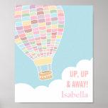 Pastel Hot Air Balloon Girls Room Decor Poster