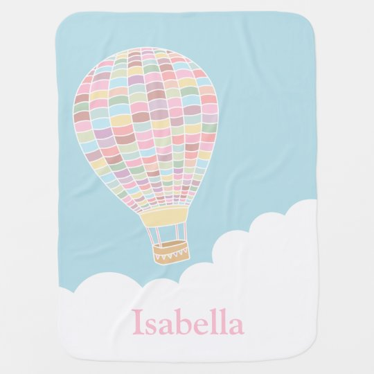 Pastel Hot Air Balloon Personalized Baby Blankets