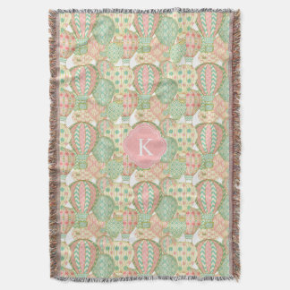 Pastel Hot Air Balloons with Monogram Throw Blanket