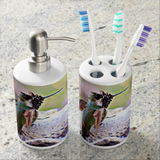 Pastel Hummer on Water Fountain Bath Set