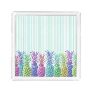 Pastel Jungle and Stripes Acrylic Tray