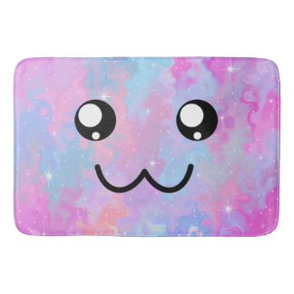 Pastel Kawaii Cute Face Adorable Japanese Anime Bath Mat