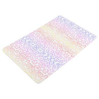 Pastel Kawaii Leopard Rainbow Animal Print Floor Mat