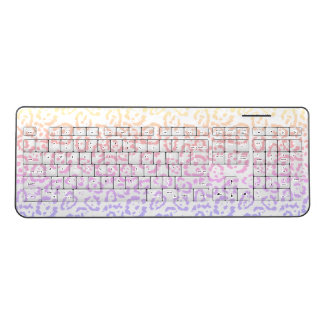 Pastel Kawaii Leopard Rainbow Animal Print Wireless Keyboard