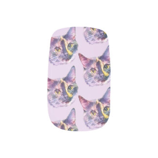 Pastel Kitty Cat Minx Nail Art